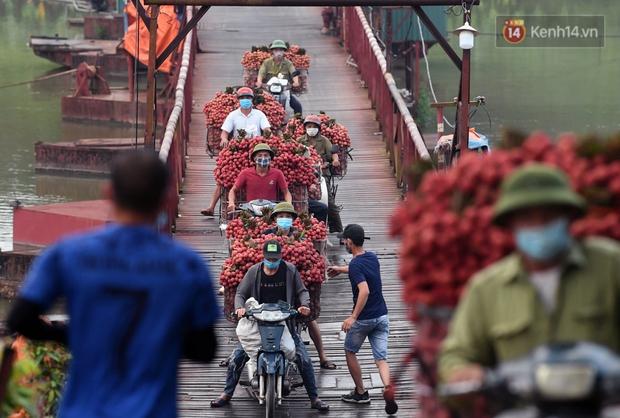 Bắc Giang: Kiếm tiền triệu từ việc đẩy xe chở vải lên dốc cầu phao trong mùa thu hoạch - Ảnh 6.