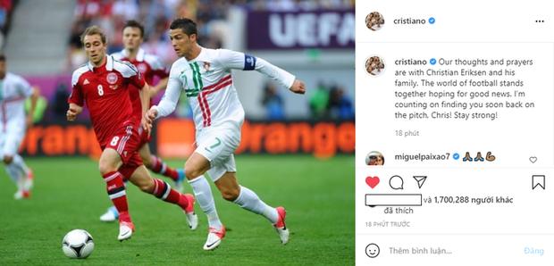 Ronaldo cùng dàn sao bóng đá cầu nguyện cho Eriksen sớm bình phục - Ảnh 1.