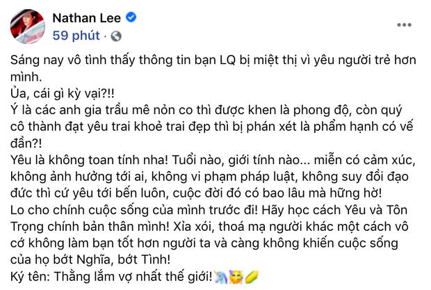 Nathan Lee bênh vực Lệ Quyên khi bị móc mỉa phẩm hạnh vì yêu trai trẻ, còn đưa ra lý lẽ đáp trả antifan cực gắt - Ảnh 2.