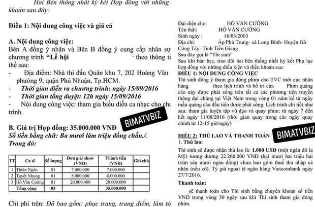 Xôn xao bản hợp đồng tiết lộ mức cát xê của Hồ Văn Cường, con số thực sự khiến netizen ngỡ ngàng - Ảnh 2.