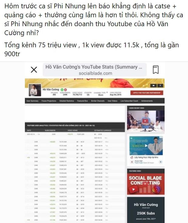 Phi Nhung nói cát-xê Hồ Văn Cường chỉ hơn 1 tỷ đồng, netizen làm toán chất vấn: Doanh thu khủng từ YouTube thì sao? - Ảnh 2.