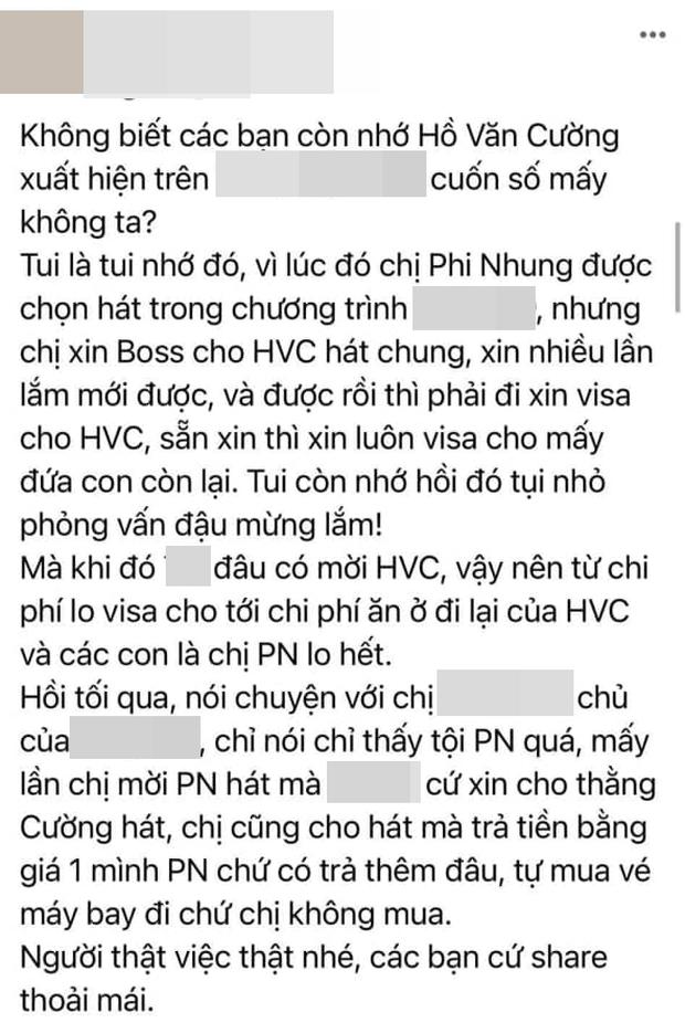 Thêm nhân vật tiết lộ: Phi Nhung nhiều lần xin để Hồ Văn Cường diễn ở Mỹ dù chỉ mời 1 mình nữ ca sĩ, toàn bộ chi phí visa đi lại đều lo hết - Ảnh 1.