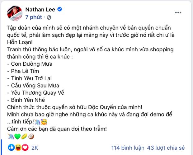 Chính thức: Nathan Lee sở hữu độc quyền 6 ca khúc của Cao Thái Sơn, tuyên bố chưa từng nghe và đợi demo - Ảnh 2.