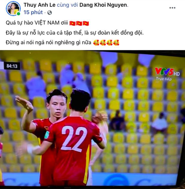 90 phút cảm xúc lên xuống của sao Việt khi xem Việt Nam - UAE: Hiệp 1 lo lắng động viên, hiệp 2 hồi hộp đến vỡ oà vui sướng! - Ảnh 9.