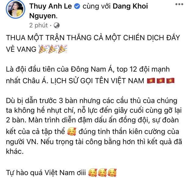 2h sáng dàn sao Việt vẫn xem đến phút cuối, vỡ oà vì kết quả của tuyển Việt Nam: Chúng ta thua 1 trận đấu nhưng làm nên lịch sử! - Ảnh 8.