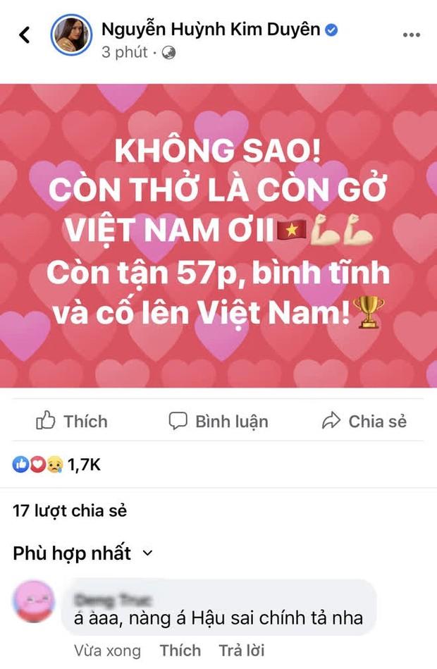 Động viên đội tuyển Việt Nam nhưng Á hậu Kim Duyên viết sai 1 từ, bị cả cộng đồng mạng vào bắt sửa - Ảnh 2.