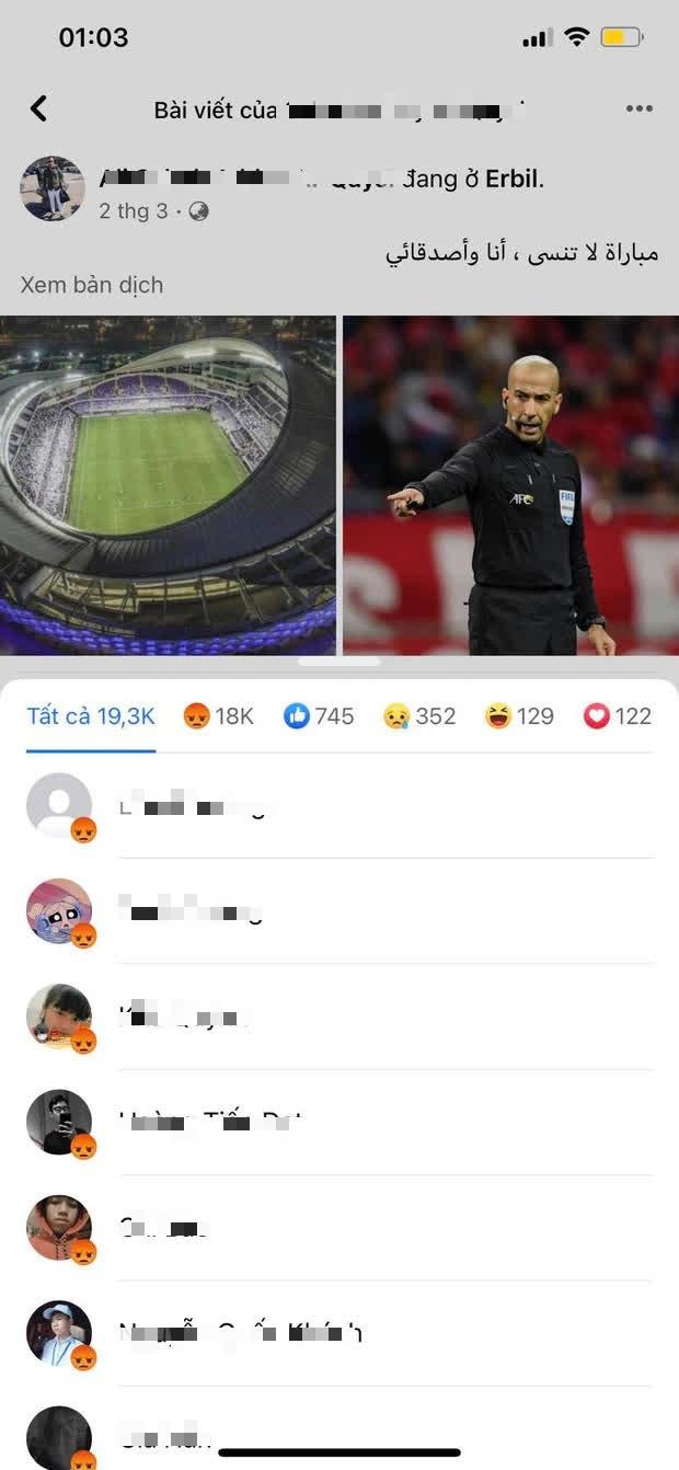 Trọng tài trận Việt Nam - UAE bị cộng đồng mạng tấn công Facebook cá nhân, phải tạm khóa tài khoản - Ảnh 2.