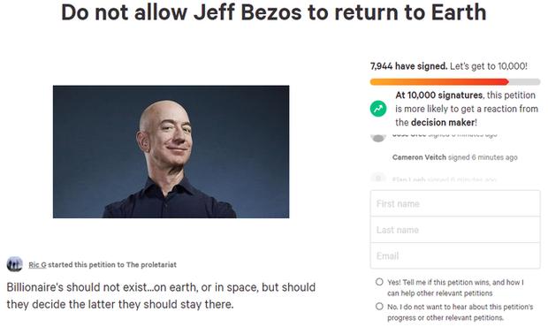 Chưa kịp bay lên không gian, Jeff Bezos đã bị hàng nghìn người muốn cấm trở về Trái Đất - Ảnh 1.