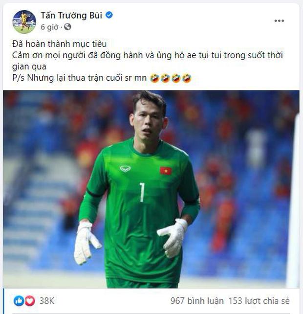 Thủ môn Tấn Trường xin lỗi người hâm mộ sau trận đấu với UAE - Ảnh 1.