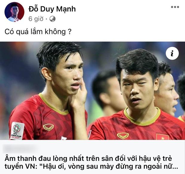 Dân mạng đổ xô tương tác bài đăng phát ngôn của Duy Mạnh khi Văn Hậu bị CĐV đuổi đừng ra sân, nhưng bị lừa rồi! - Ảnh 2.