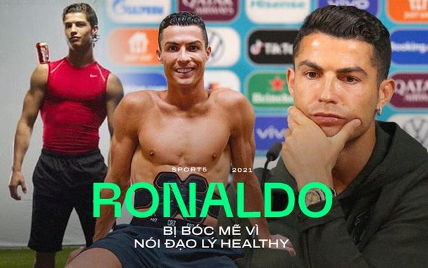 Ronaldo nói đạo lý healthy bị dân tình bóc mẽ: Kiếm hàng nghìn tỷ đồng nhờ quảng cáo sản phẩm không lành mạnh, từ nước có ga, gà rán đến máy rung tạo 6 múi - Ảnh 1.