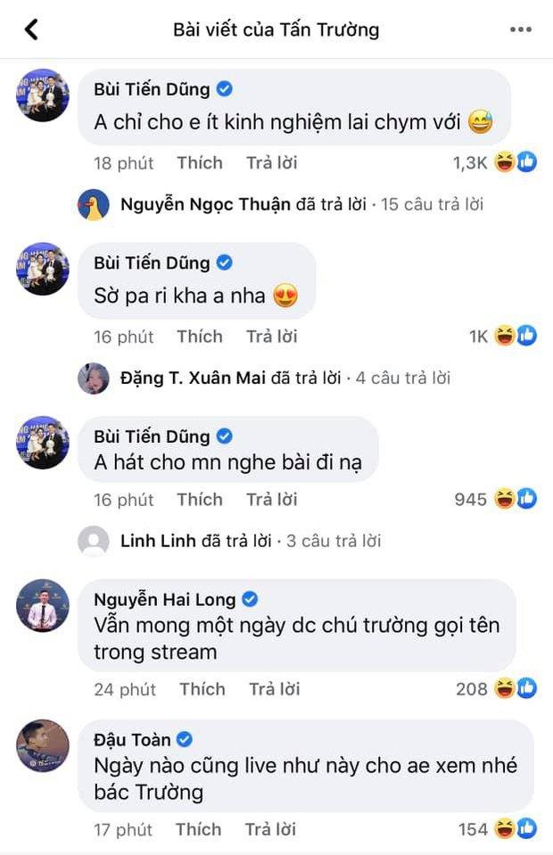 Ông chú Tấn Trường livestream thôi mà được cả dàn trai đẹp tuyển quốc gia vào bình luận tăng tương tác chóng mặt - Ảnh 3.