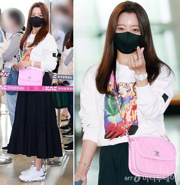 Mỹ nhân tự nhận đẹp hơn Kim Tae Hee ra sân bay, nhan sắc U50 hút hồn nhưng gia tài nửa tỷ nhồi nhét trên người mới choáng - Ảnh 2.