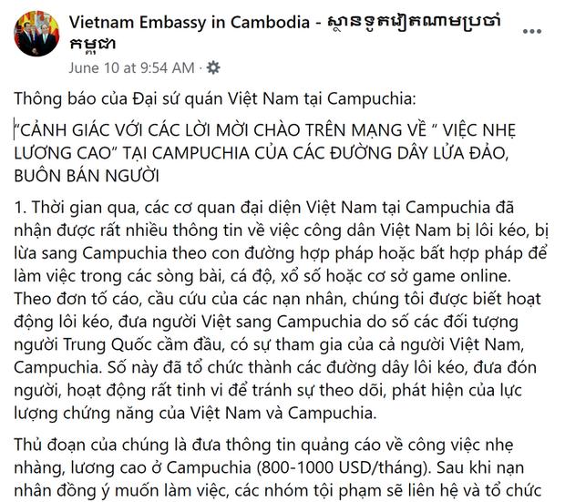 ĐSQ Việt Nam tại Campuchia cảnh báo về các đường dây lừa đảo, buôn người do người Trung Quốc cầm đầu - Ảnh 1.