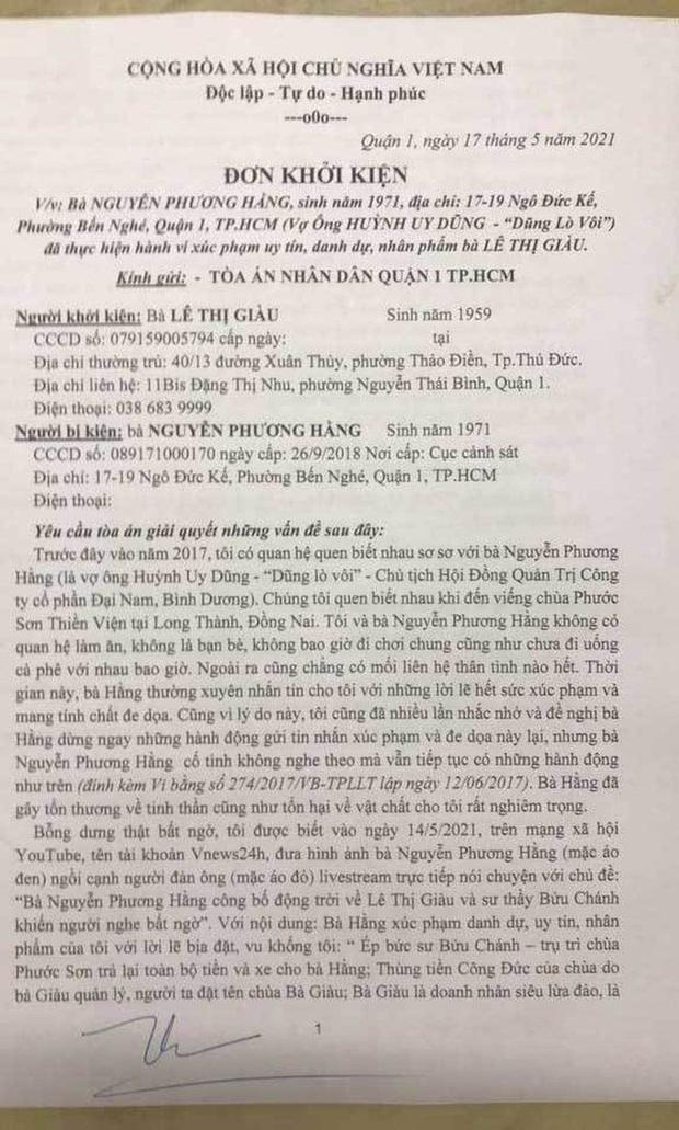 Bà Phương Hằng tuyên bố kiện ngược lại bà Lê Thị Giàu: Tôi từng bị giang hồ do bà Giàu thuê bao vây, phải gọi công an đến giải cứu - Ảnh 2.