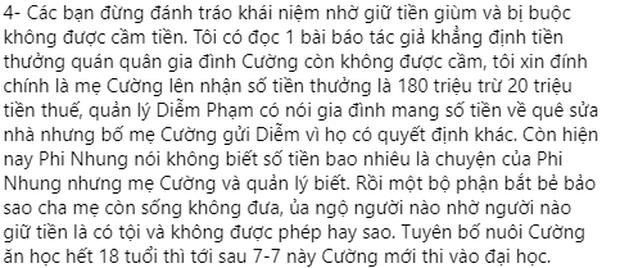 Tiền thưởng của Hồ Văn Cường đúng là do quản lý Phi Nhung giữ nhưng mẹ ruột muốn rút khi nào cũng được? - Ảnh 3.