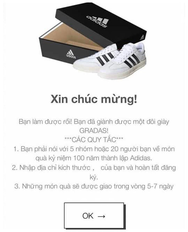 Cảnh báo: Xuất hiện đường link giả mạo Adidas để lừa đảo trên Facebook, nhiều người sập bẫy chỉ vì phần quà rất giá trị - Ảnh 2.