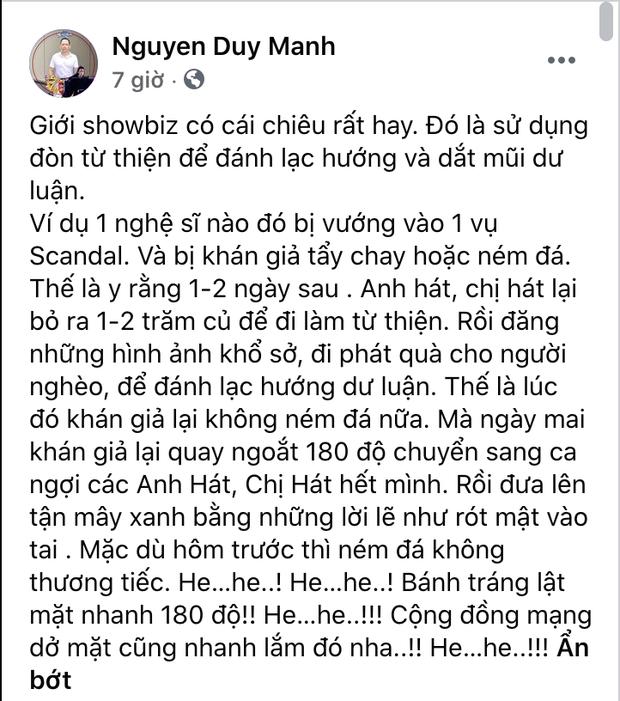 Duy Mạnh bóc trần chiêu trò từ thiện của showbiz Việt, đổi trắng thay đen chỉ trong 1-2 ngày? - Ảnh 2.