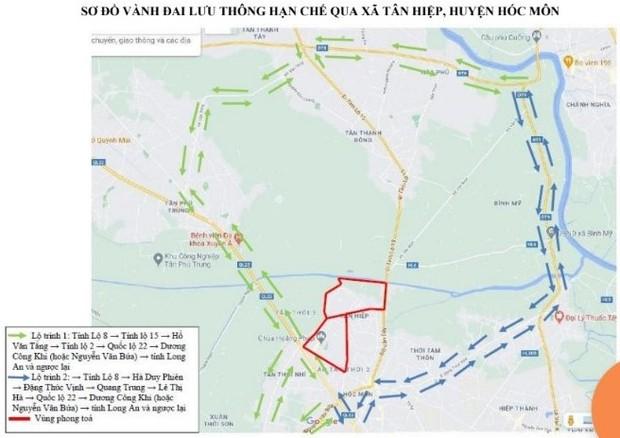 TP.HCM: Người dân đi qua vùng phong tỏa ở huyện Hóc Môn cần đi theo lộ trình này  - Ảnh 3.