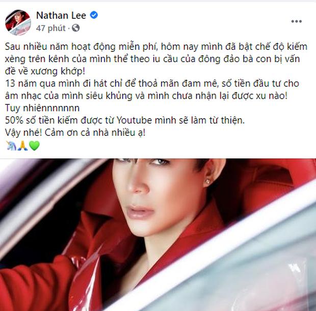 Mãi đến hôm nay Nathan Lee mới bật nút kiếm tiền cho kênh YouTube sau 7 năm, tuyên bố 50% doanh thu sẽ để làm từ thiện - Ảnh 1.