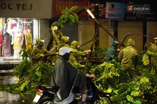 Hàng loạt cây xanh gãy đổ khắp đường phố Hà Nội sau cơn mưa giông tầm tã - Ảnh 4.