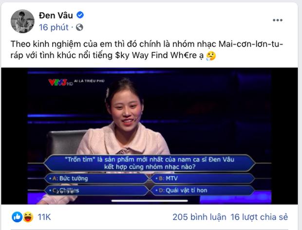 Ai Là Triệu Phú đặt câu hỏi về bài Trốn Tìm, nhưng Đen Vâu trả lời thế này thì người chơi dùng 1000 sự trợ giúp cũng chịu thua! - Ảnh 3.