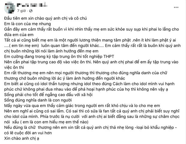 1 người con nuôi của Phi Nhung viết tâm thư, hé lộ tình trạng của mẹ và Hồ Văn Cường sau khi xảy ra vụ lùm xùm - Ảnh 2.