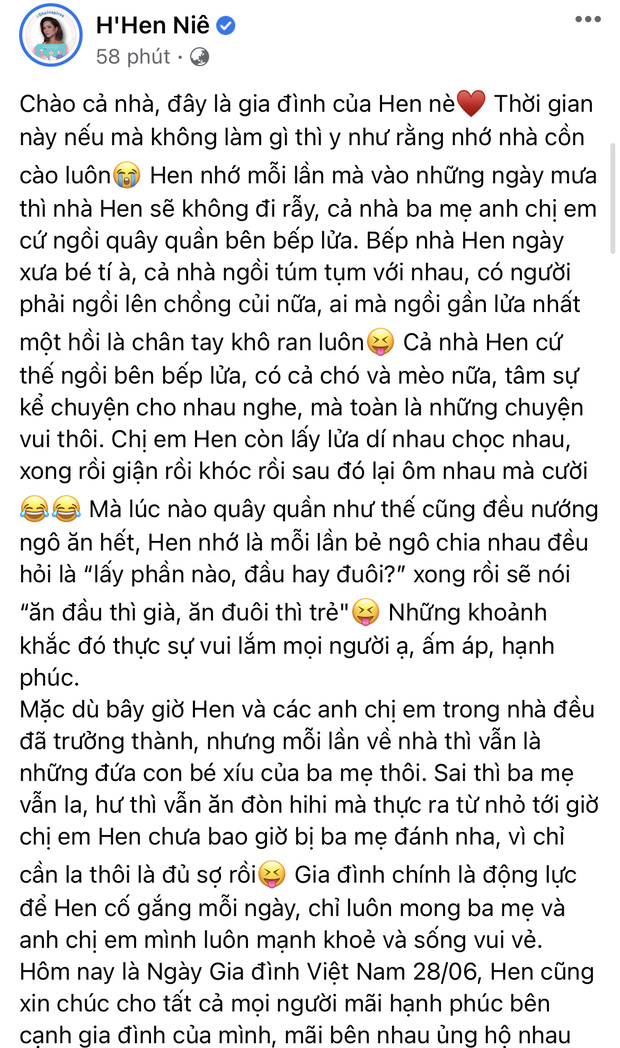 Ngập trời sao Vbiz chia sẻ nhân ngày Gia đình Việt Nam: Đoan Trang khoe hội anh em nhà người ta, H'Hen Niê - Tiểu Vy chung 1 nỗi lòng - Ảnh 2.
