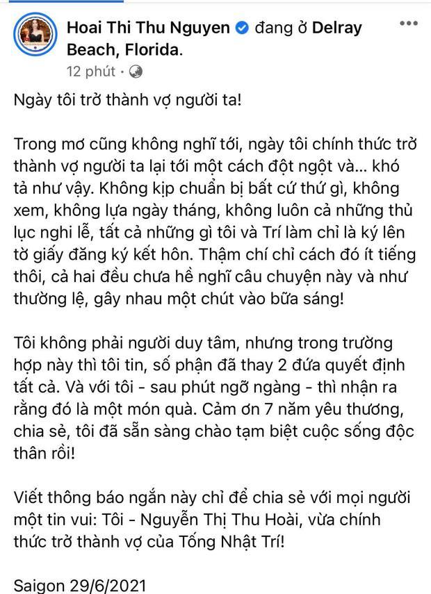 HOT: Hoa hậu Thu Hoài và bạn trai kém 10 tuổi chính thức thành vợ chồng hợp pháp, hé lộ luôn ảnh cưới cực tình! - Ảnh 2.