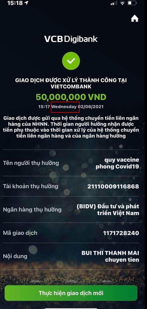 Sau Vy Oanh, lại có thêm 1 nghệ sĩ Việt bị nghi đăng ảnh chuyển khoản pha ke ủng hộ Quỹ vaccine, phải lặng lẽ sửa status - Ảnh 4.