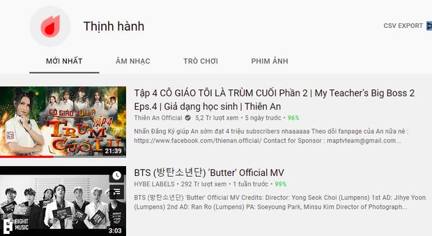 BTS đã xuống #2, bị vượt mặt trên top trending bởi nữ YouTuber từng có bản cover gần 150 triệu view - Ảnh 1.