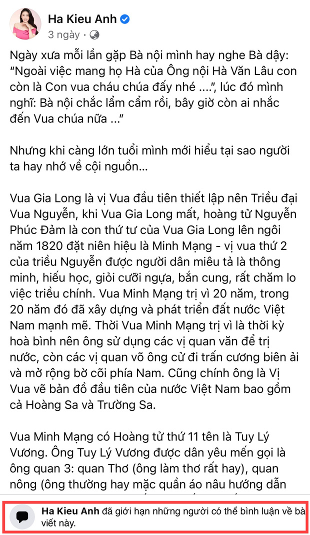Động thái thẳng tay của Hà Kiều Anh khi bị netizen bão công kích Facebook vì vụ ồn ào công chúa đời thứ 7 triều Nguyễn - Ảnh 2.