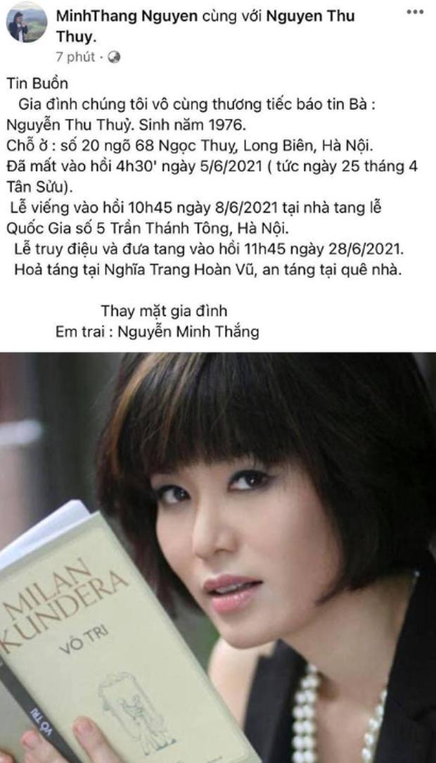 Em trai Hoa hậu Nguyễn Thu Thuỷ có chia sẻ đầu tiên trên mạng xã hội, xót xa tiếc thương chị gái vĩnh viễn ra đi - Ảnh 2.