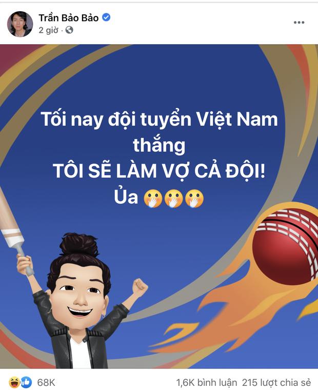 Sao Việt nhuộm đỏ Facebook trước giờ G đội tuyển Việt Nam gặp Indonesia: Jack và dàn mỹ nhân cực cuồng nhiệt, BB Trần hứa làm 1 việc lầy lội - Ảnh 11.