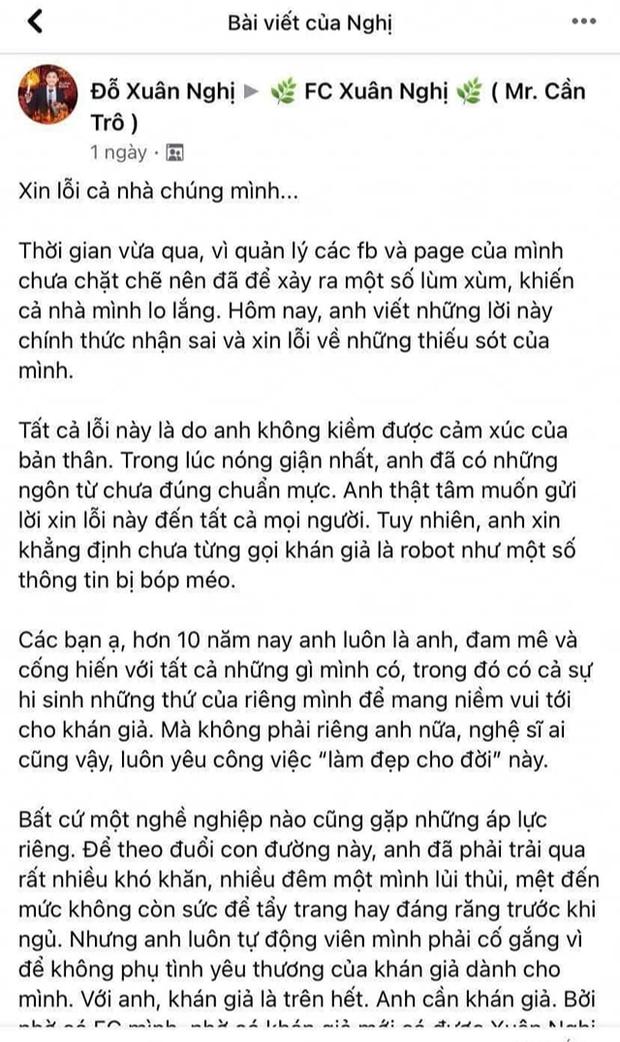 Xuân Nghị viết tâm thư xin lỗi sau ồn ào động chạm bà Phương Hằng, ẩn ý nhắc đến 2 tượng đài nghệ thuật Vbiz - Ảnh 3.
