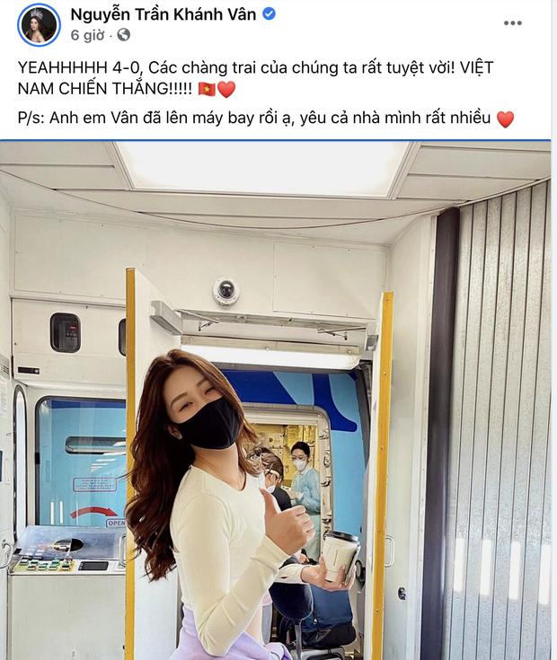 Khánh Vân đã lên máy bay về nước sau 1 tháng mắc kẹt ở Mỹ, không quên chúc mừng tuyển Việt Nam thắng 4-0 trước Indonesia - Ảnh 2.