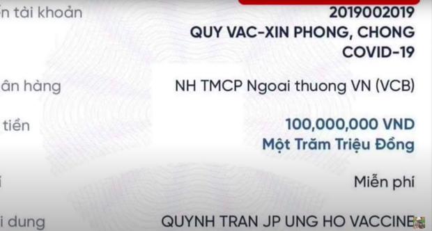 Quỳnh Trần JP ủng hộ 100 triệu vào Quỹ vaccine phòng Covid-19: Nghe hoàn cảnh đằng sau càng đáng tuyên dương hơn! - Ảnh 1.