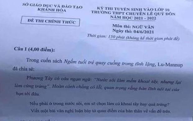 Sở Giáo dục Khánh Hoà nói gì về đề thi chuyên Văn lớp 10 gây nhiều tranh cãi? - Ảnh 1.