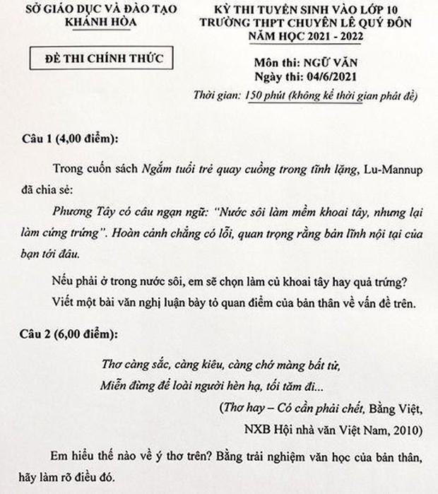 Sở Giáo dục Khánh Hoà nói gì về đề thi chuyên Văn lớp 10 gây nhiều tranh cãi? - Ảnh 3.