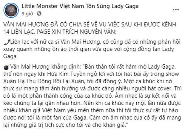 Fan Lady Gaga tại Việt Nam làm căng quá, Văn Mai Hương dù tuyên bố đã trả tác quyền nhưng hết bài hát bị gỡ đến clip cover cũng bị xóa - Ảnh 3.