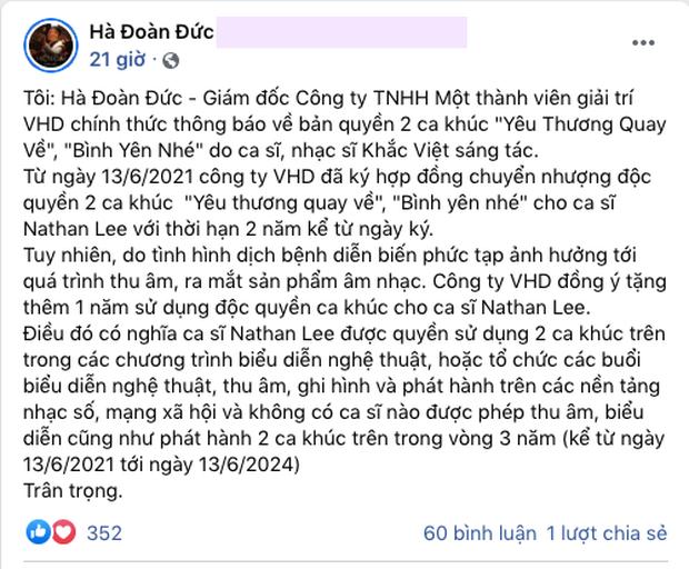 Đại diện Khắc Việt tiết lộ thời hạn bán độc quyền 2 bản hit cho Nathan Lee, ngầm tố Cao Thái Sơn vi phạm bản quyền? - Ảnh 3.