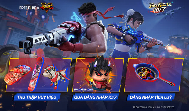 Free Fire bắt tay Street Fighter V, game thủ được nhận miễn phí hàng loạt quà tặng xịn xò - Ảnh 1.