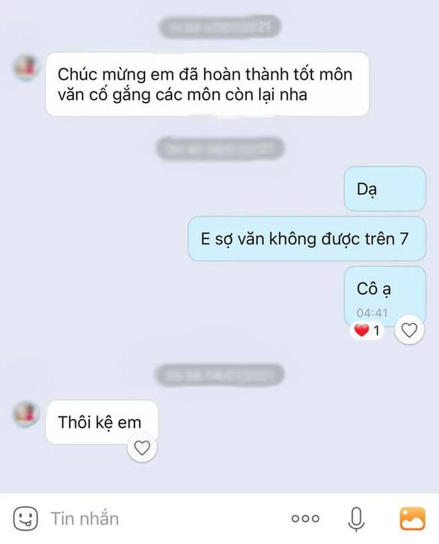 Nữ sinh tâm sự với giáo viên sợ Văn không được 7 điểm, ai dè nhận về 1 dòng tin nhắn tức anh ách của cô giáo - Ảnh 1.