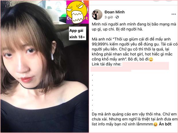 Đoan Minh - cô gái có 12 mối tình, tìm bạn trai cho tiền đầu tư đã xoá bài quảng cáo app sex - Ảnh 1.