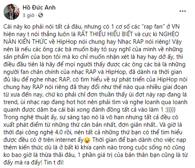 Biến gì đây: Thí sinh Rap Việt MCK, Gonzo,... đồng loạt chia sẻ 1 bài viết chỉ trích rap fan hiện nay thiếu hiểu biết, nghèo nàn kiến thức? - Ảnh 4.