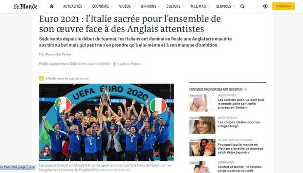 Báo Pháp nâng tuyển Italy lên tận mây xanh, báo Đức hả hê dìm hàng tuyển Anh sau chung kết Euro 2020 - Ảnh 1.