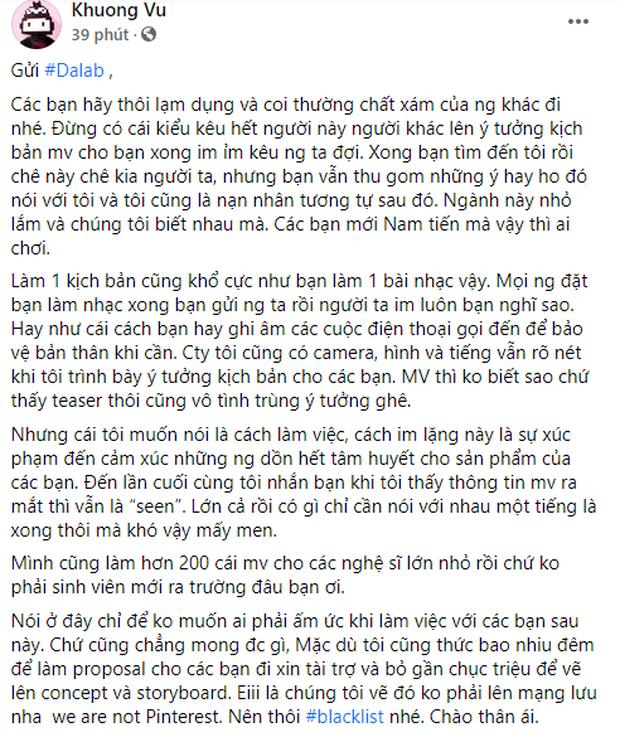 Biến căng: Đạo diễn loạt MV của Jack, Hương Giang... bóc phốt Da LAB lạm dụng chất xám, bàn ý tưởng kịch bản chán chê xong im lặng - Ảnh 1.