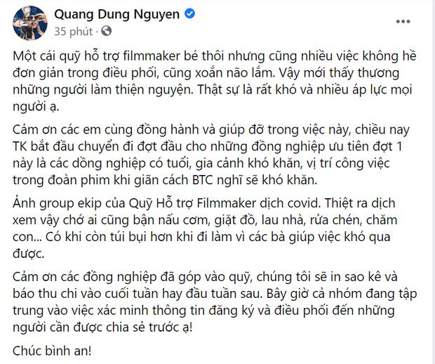 Đạo diễn Nguyễn Quang Dũng lập quỹ hộ trợ nhân viên đoàn phim giữa mùa dịch, sao Việt nô nức xin góp sức - Ảnh 1.