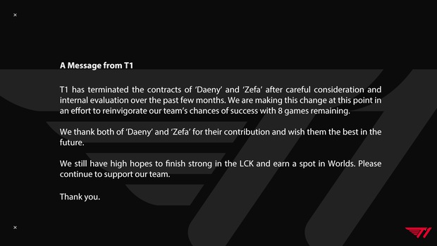 Sốc: T1 bất ngờ sa thải HLV Daeny và Zefa - Ảnh 1.