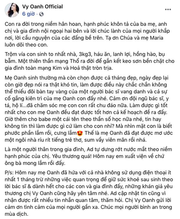 Phía Vy Oanh chính thức lên tiếng về thời gian sinh con dài 12 tháng kỷ lục đang gây xôn xao dư luận - Ảnh 4.